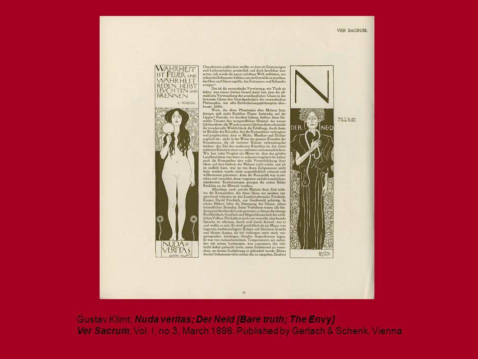 Gustav Klimt, Nuda veritas; Der Neid [Bare truth; The Envy] Ver Sacrum, Vol. I, no.3, March 1898. Published by Gerlach & Schenk, Vienna