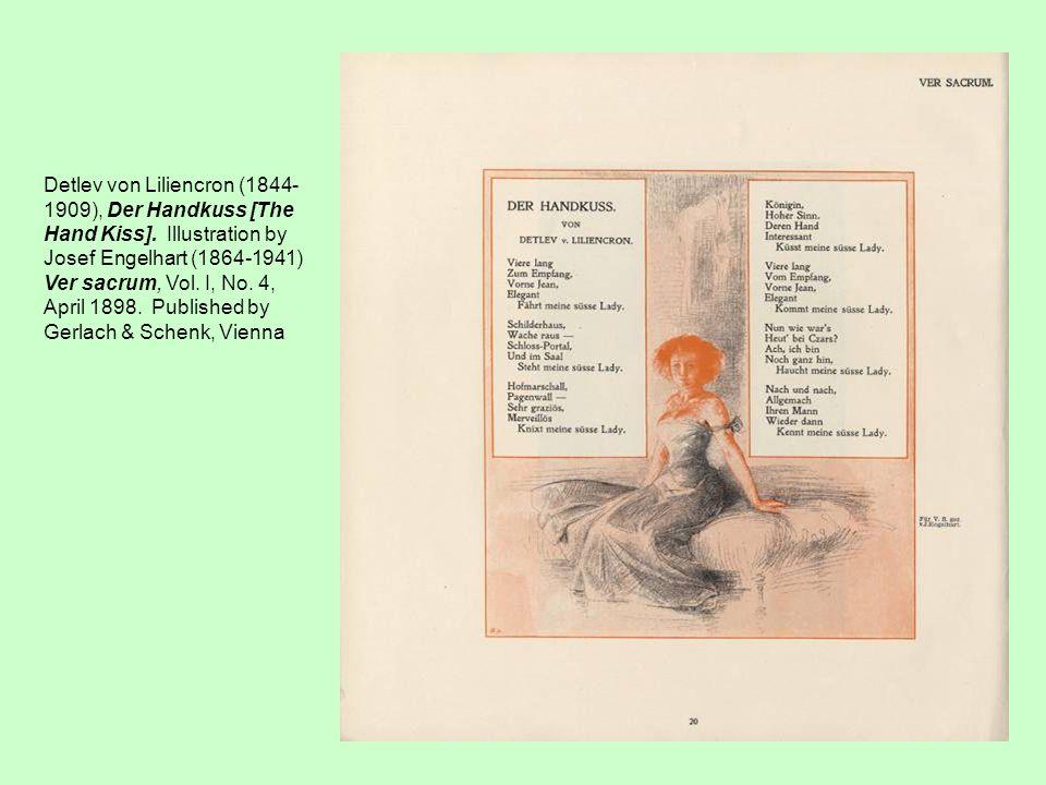 Detlev von Liliencron (1844- 1909), Der Handkuss [The Hand Kiss]. Illustration by Josef Engelhart (1864-1941) Ver sacrum, Vol. I, No. 4, April 1898. P