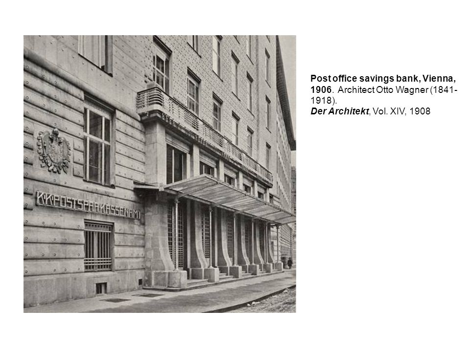 Post office savings bank, Vienna, 1906. Architect Otto Wagner (1841- 1918). Der Architekt, Vol. XIV, 1908