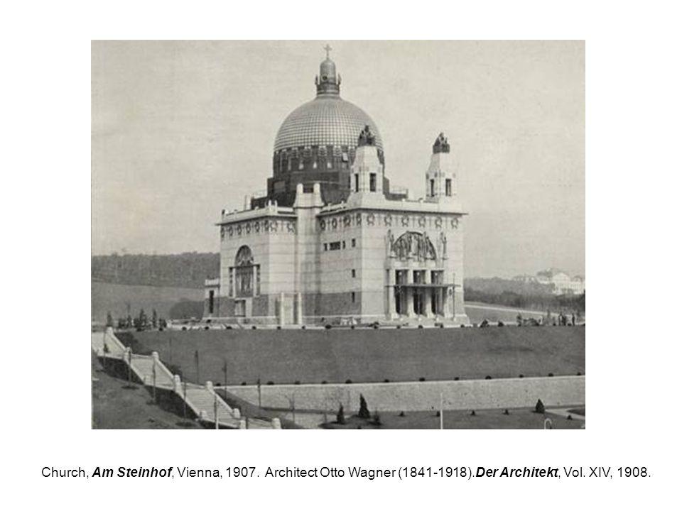 Church, Am Steinhof, Vienna, 1907. Architect Otto Wagner (1841-1918).Der Architekt, Vol. XIV, 1908.