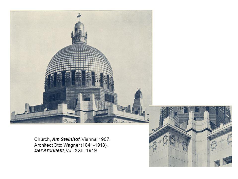 Church, Am Steinhof, Vienna, 1907. Architect Otto Wagner (1841-1918). Der Architekt, Vol. XXII, 1919