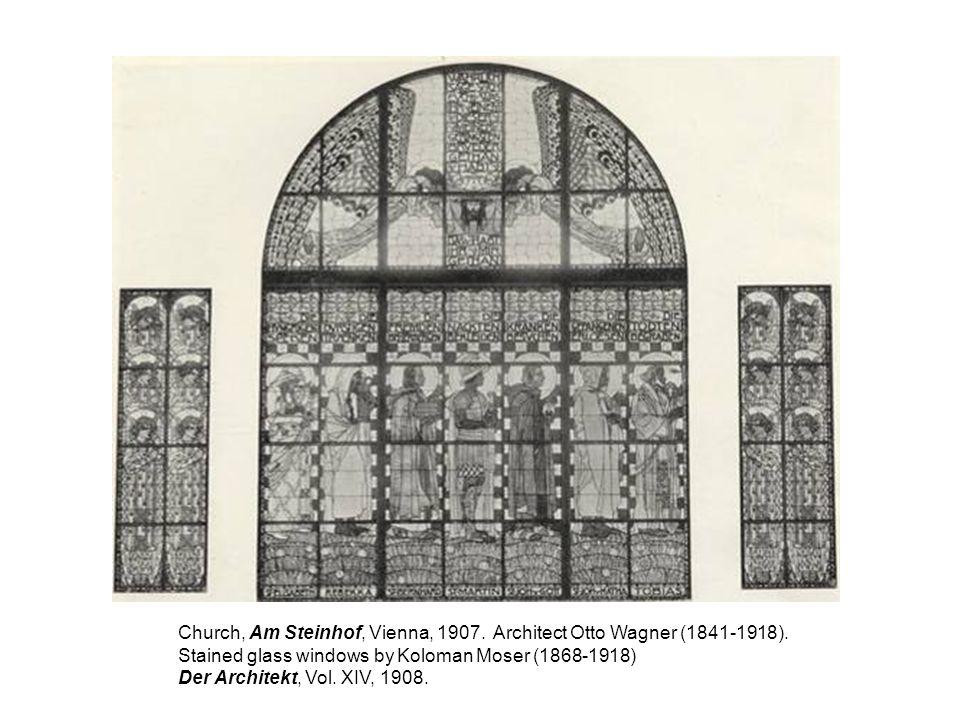 Church, Am Steinhof, Vienna, 1907. Architect Otto Wagner (1841-1918). Stained glass windows by Koloman Moser (1868-1918) Der Architekt, Vol. XIV, 1908