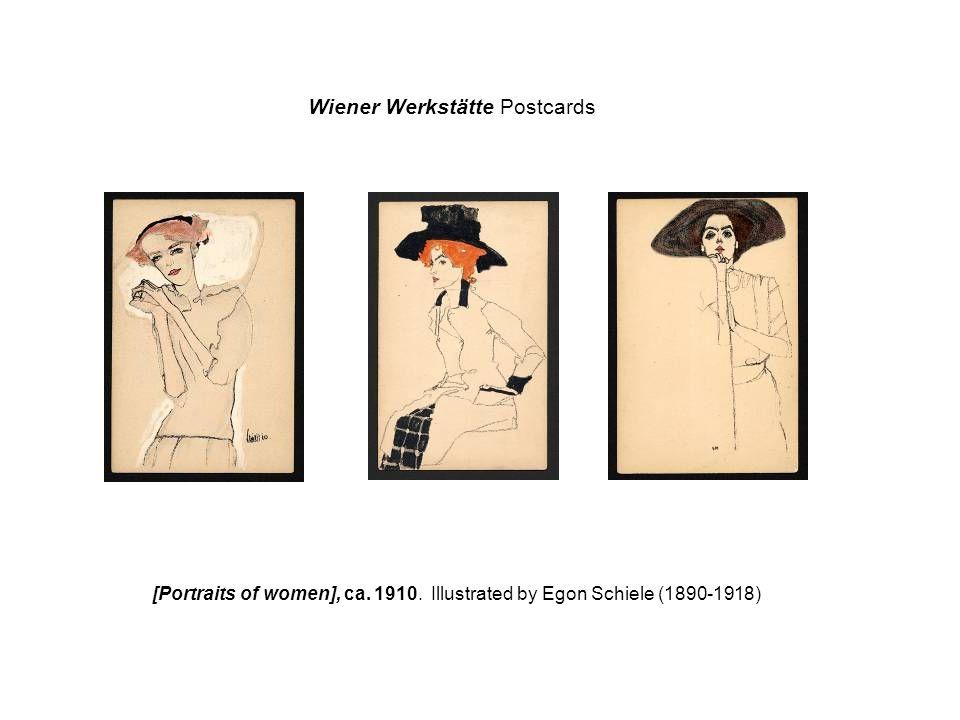 Wiener Werkstätte Postcards [Portraits of women], ca. 1910. Illustrated by Egon Schiele (1890-1918)