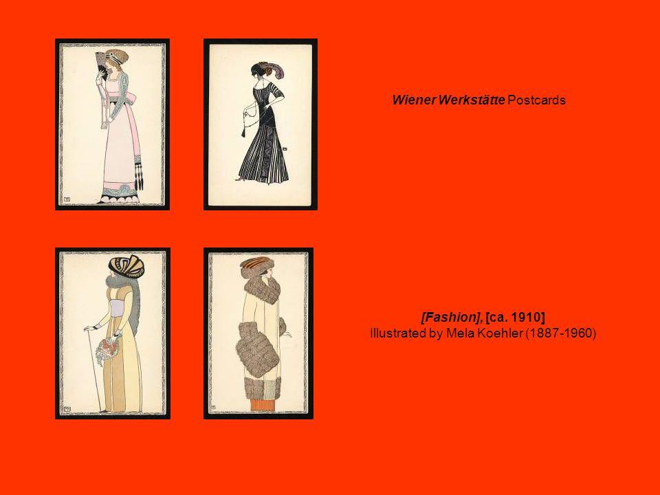 [Fashion], [ca. 1910] Illustrated by Mela Koehler (1887-1960) Wiener Werkstätte Postcards