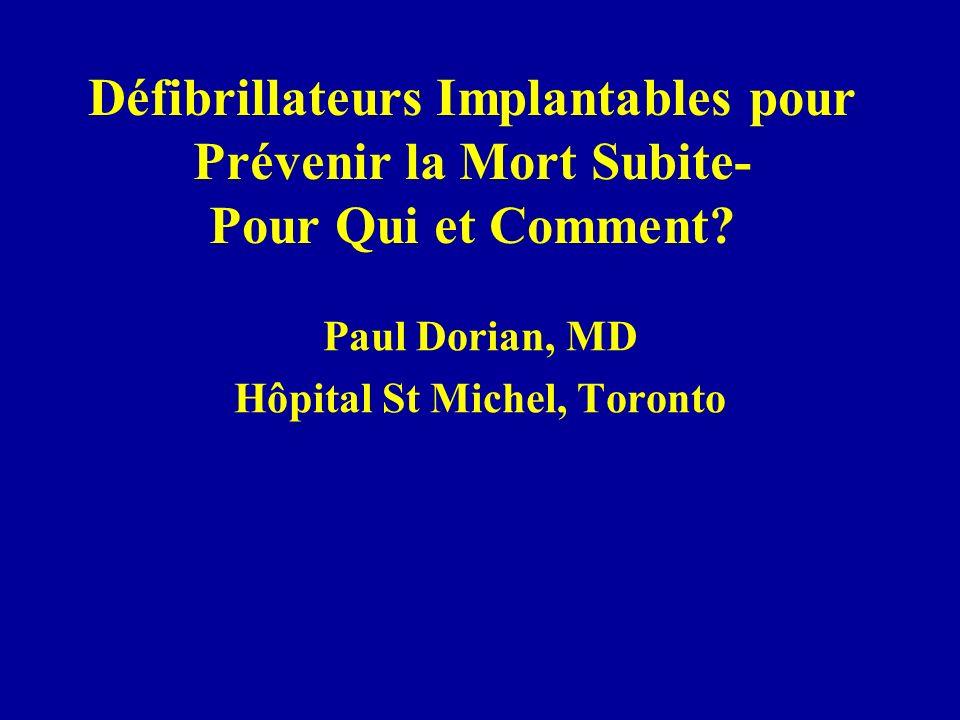Défibrillateurs Implantables pour Prévenir la Mort Subite- Pour Qui et Comment? Paul Dorian, MD Hôpital St Michel, Toronto