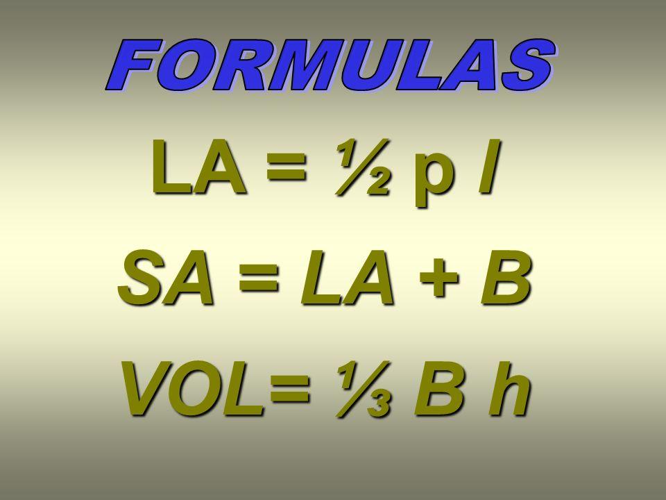 LA = ½ p l SA = LA + B VOL= B h