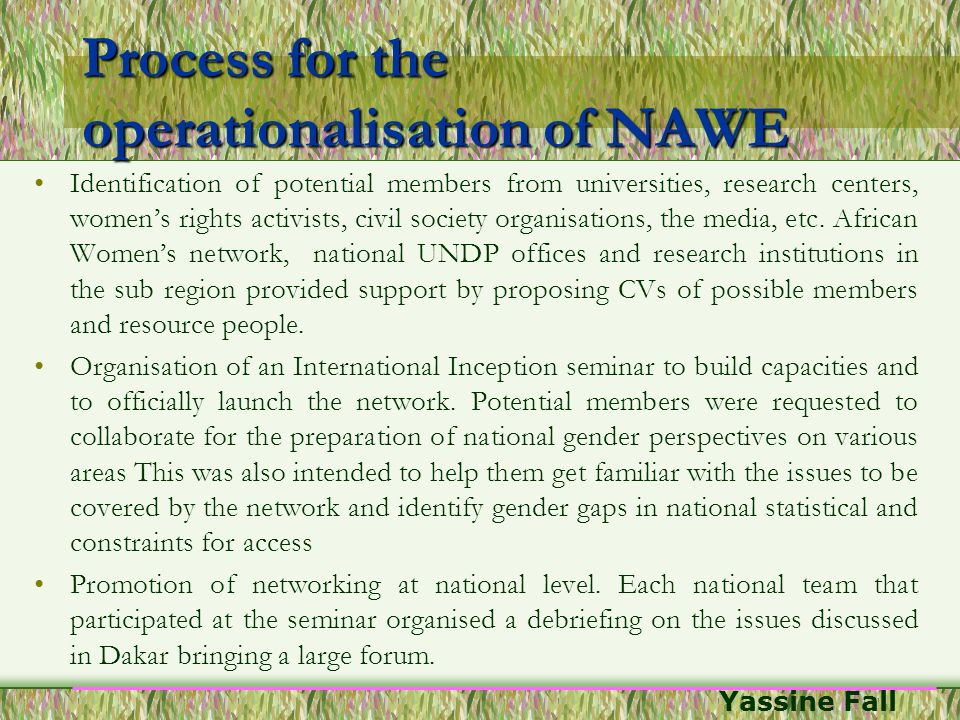 Yassine Fall Process for the operationalisation of NAWE Identification of potential members from universities, research centers, womens rights activis