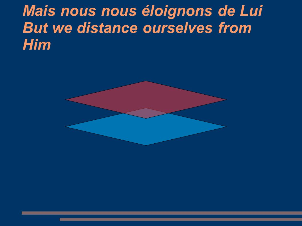 Mais nous nous éloignons de Lui But we distance ourselves from Him