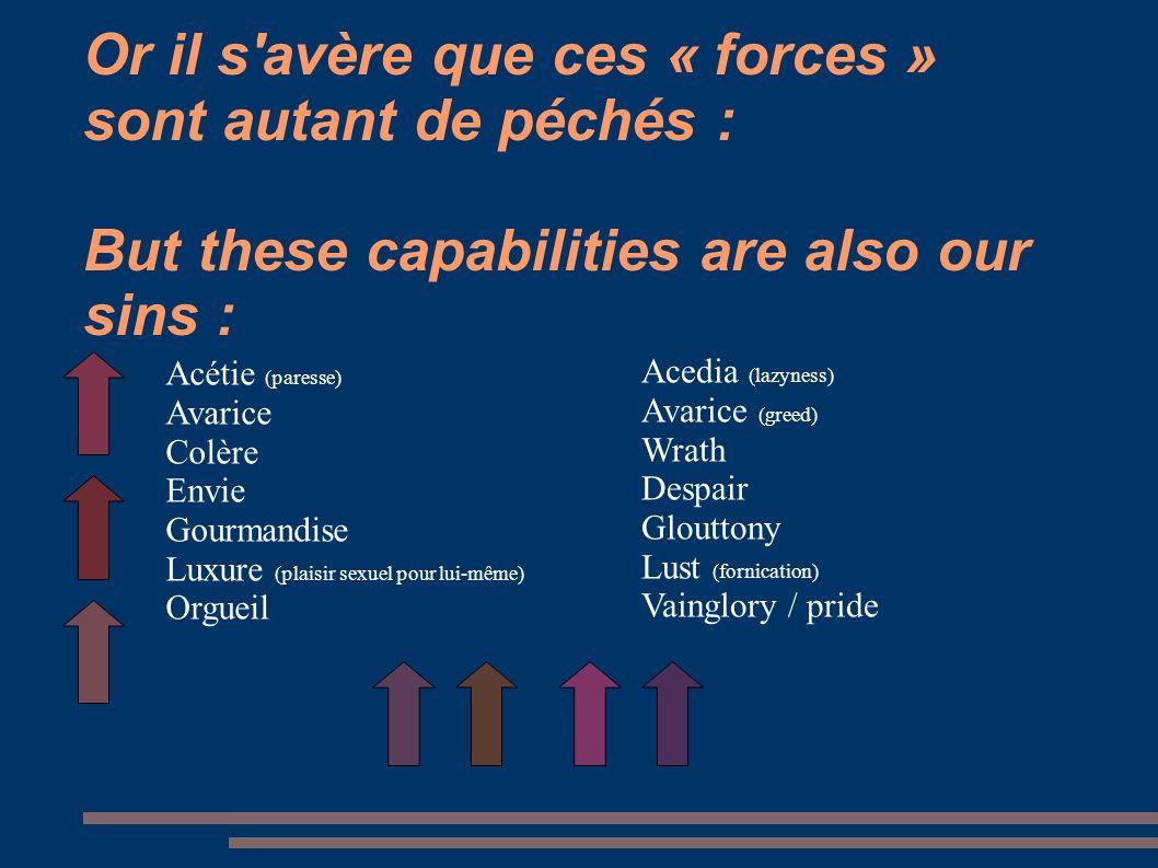 Or il s'avère que ces « forces » sont autant de péchés : But these capabilities are also our sins : Acedia (lazyness) Avarice (greed) Wrath Despair Gl