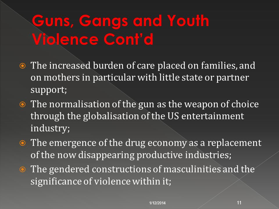 The increased burden of care placed on families, and on mothers in particular with little state or partner support; The normalisation of the gun as th