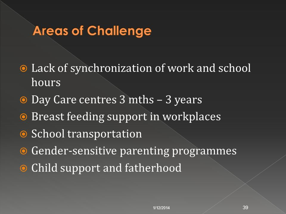 Lack of synchronization of work and school hours Day Care centres 3 mths – 3 years Breast feeding support in workplaces School transportation Gender-s