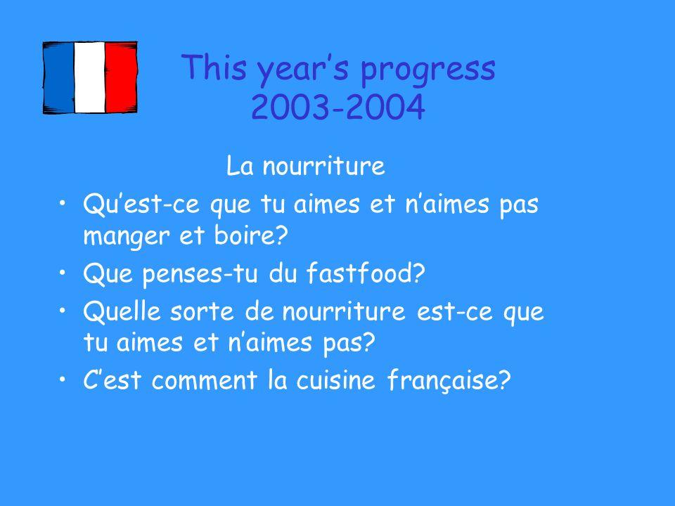 This years progress 2003-2004 La nourriture Quest-ce que tu aimes et naimes pas manger et boire? Que penses-tu du fastfood? Quelle sorte de nourriture