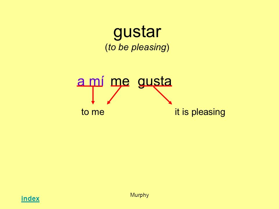 Murphy gustar (to be pleasing) megusta it is pleasingto me a mí index