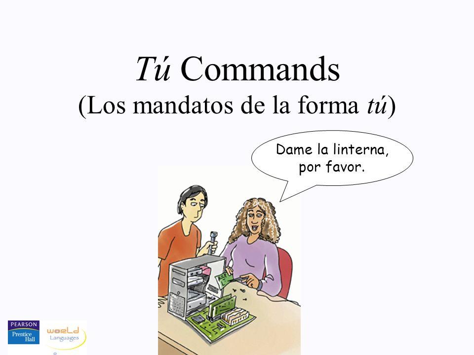 Tú Commands (Los mandatos de la forma tú) Dame la linterna, por favor.