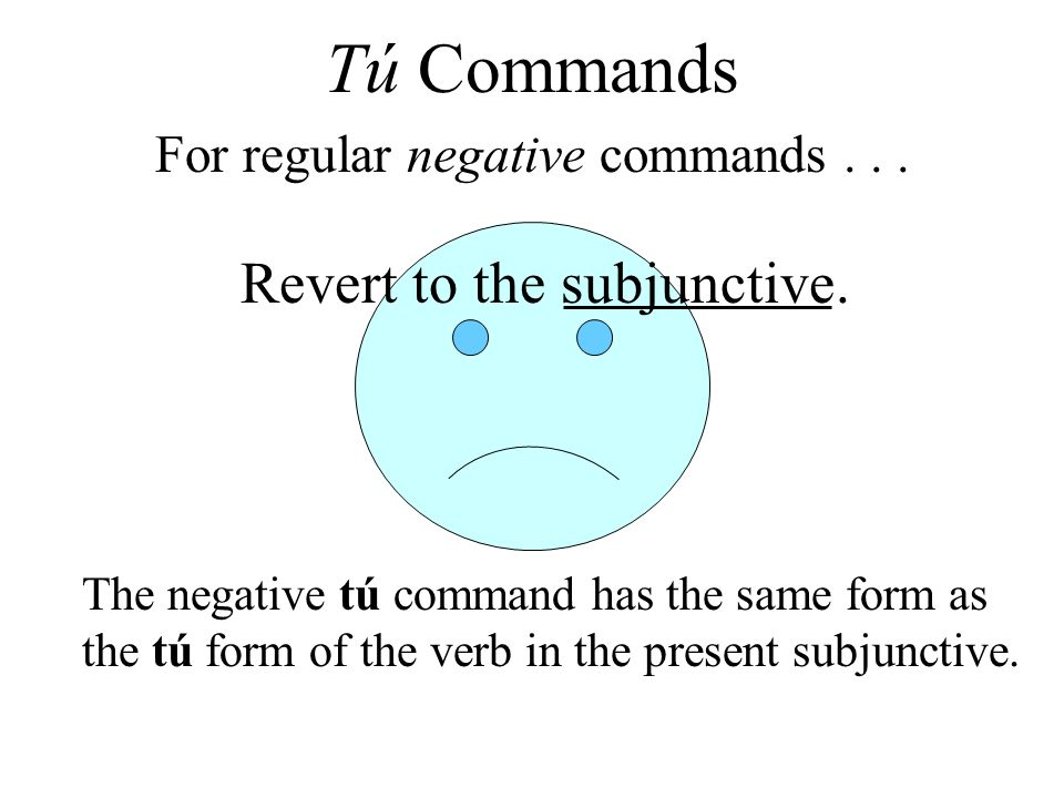 Revert to the subjunctive. The negative tú command has the same form as the tú form of the verb in the present subjunctive. For regular negative comma