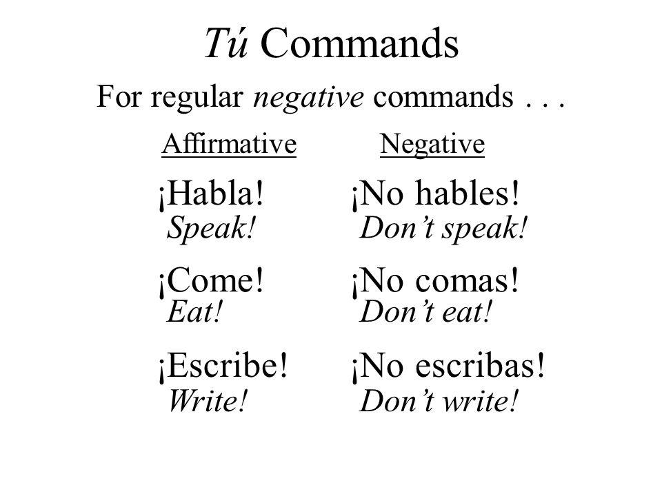 ¡Habla!¡No hables! ¡Come!¡No comas! ¡Escribe!¡No escribas! AffirmativeNegative For regular negative commands... Tú Commands Speak!Dont speak! Eat!Dont