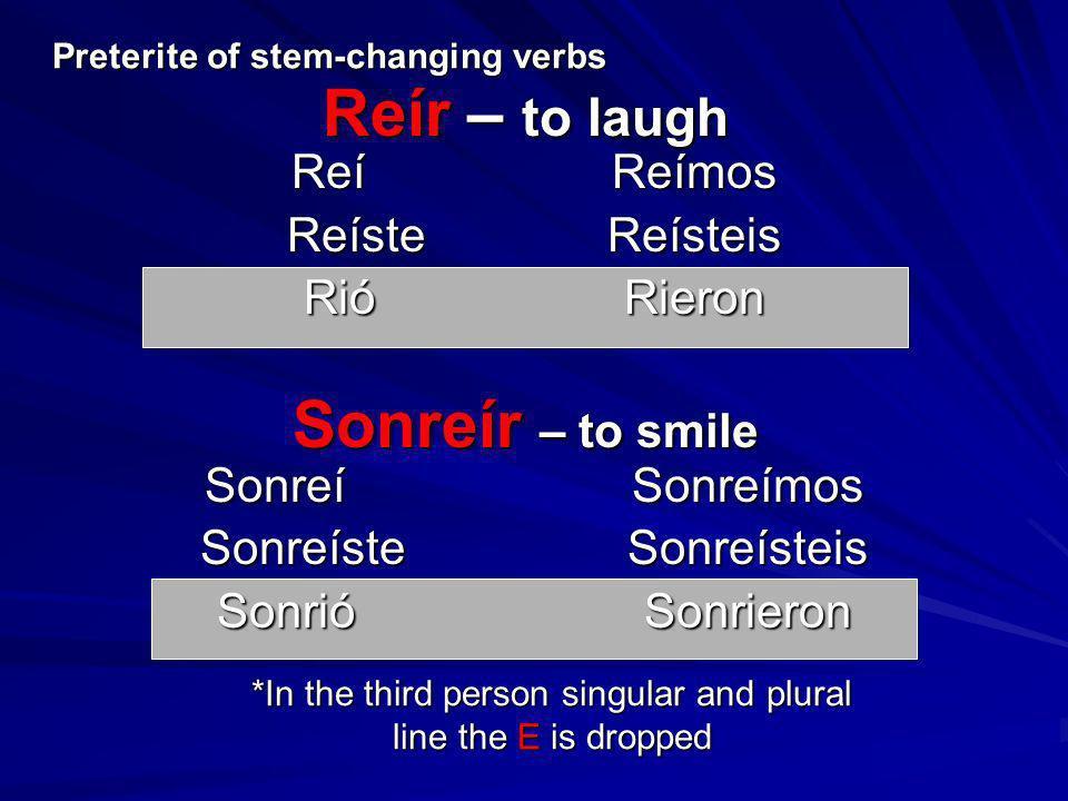 Reír – to laugh ReíReímos ReísteReísteis RióRieron SonreíSonreímos SonreísteSonreísteis SonrióSonrieron Preterite of stem-changing verbs Sonreír – to