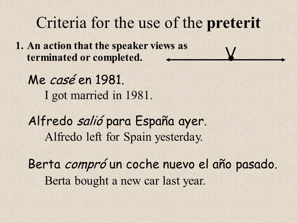Criteria for the use of the preterit 1.An action that the speaker views as terminated or completed.