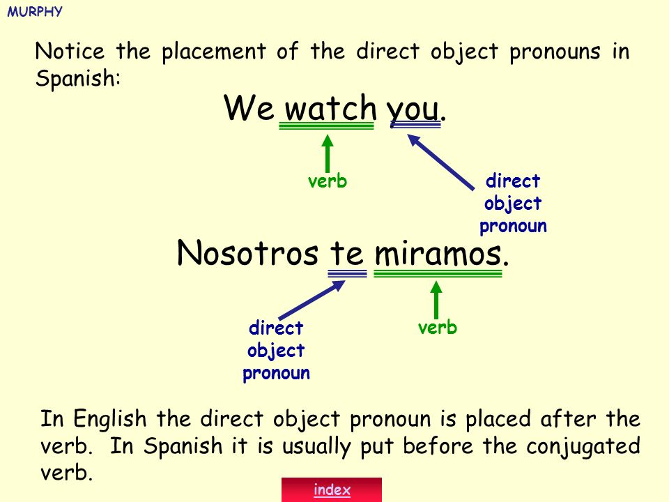 Notice the placement of the direct object pronouns in Spanish: She sings them ( las canciones ).