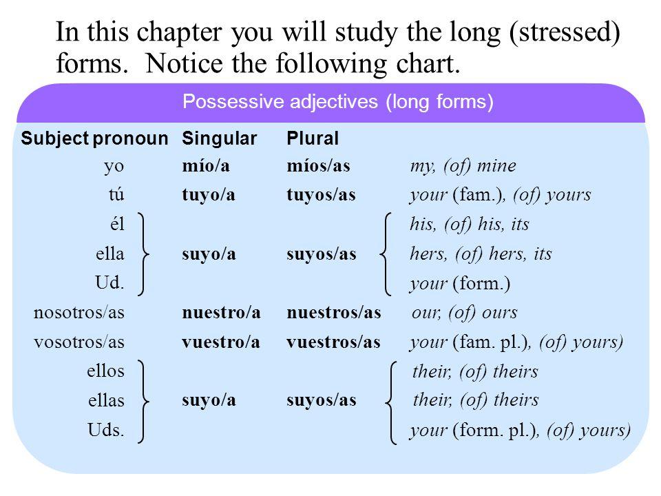 In this chapter you will study the long (stressed) forms. Notice the following chart. míos/asmío/a tuyos/astuyo/a suyos/assuyo/a nuestros/asnuestro/a