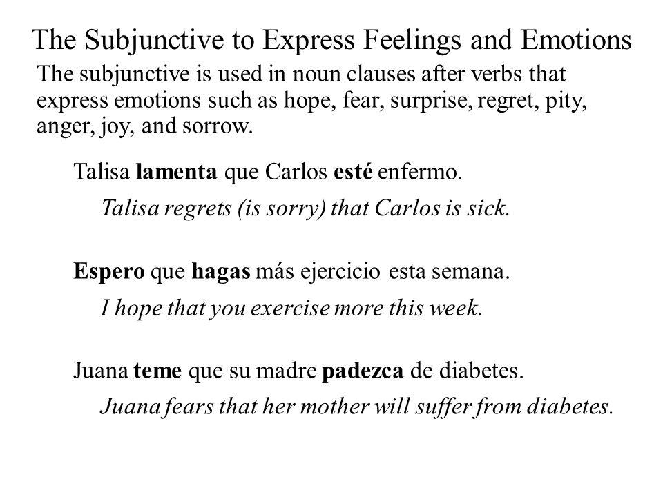 Talisa lamenta que Carlos esté enfermo. Talisa regrets (is sorry) that Carlos is sick. Espero que hagas más ejercicio esta semana. I hope that you exe