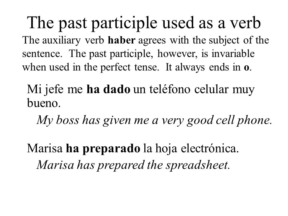 The past participle used as a verb The auxiliary verb haber agrees with the subject of the sentence. The past participle, however, is invariable when