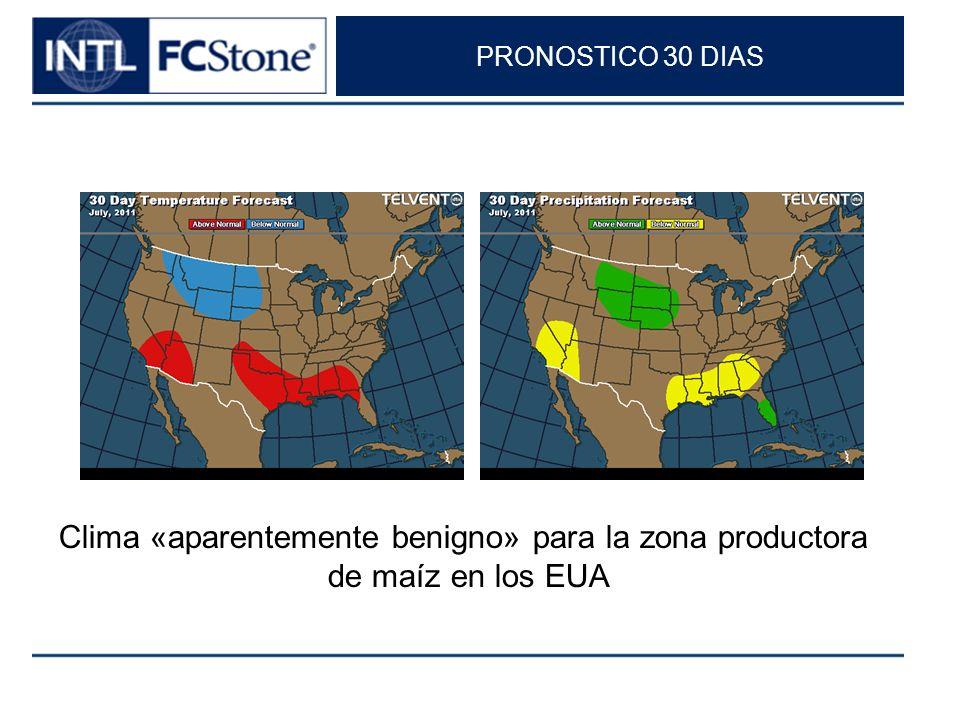 PRONOSTICO 30 DIAS Clima «aparentemente benigno» para la zona productora de maíz en los EUA
