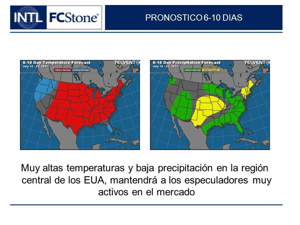 PRONOSTICO 6-10 DIAS Muy altas temperaturas y baja precipitación en la región central de los EUA, mantendrá a los especuladores muy activos en el merc