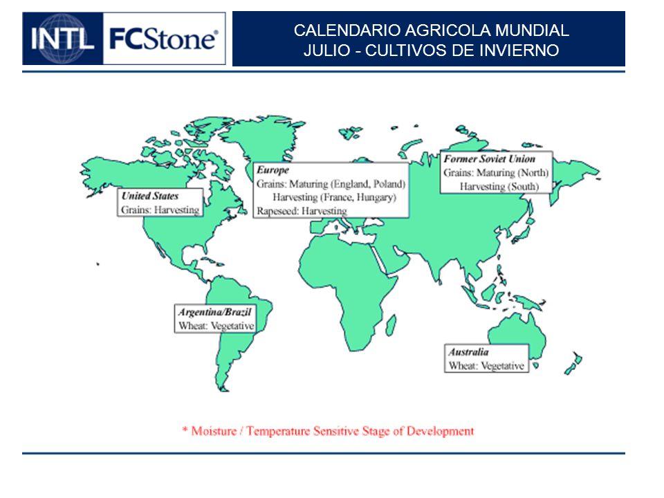 CALENDARIO AGRICOLA MUNDIAL JULIO - CULTIVOS DE INVIERNO