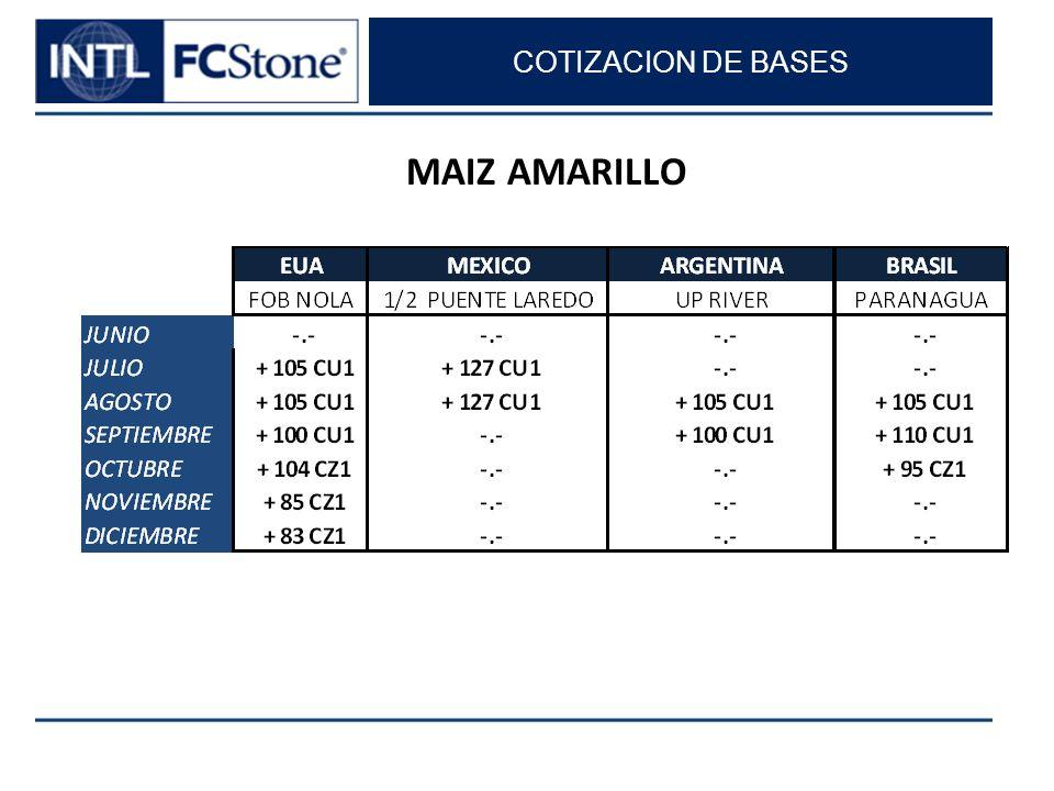 COTIZACION DE BASES MAIZ AMARILLO