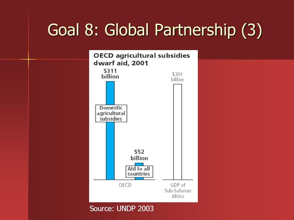 Goal 8: Global Partnership (3) Source: UNDP 2003