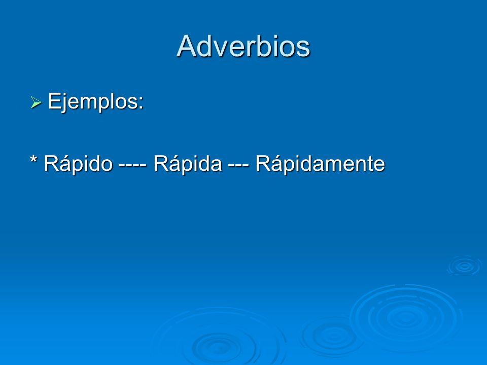 Adverbios Ejemplos: Ejemplos: * Rápido ---- Rápida --- Rápidamente