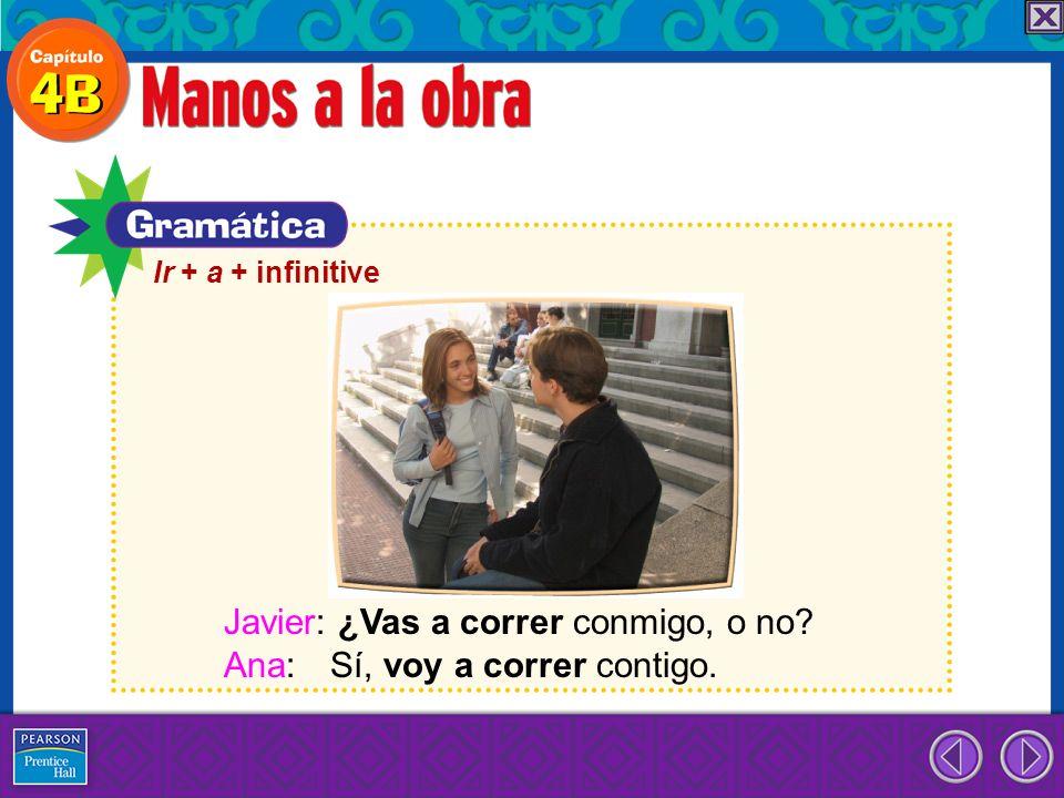 Ir + a + infinitive Javier: ¿Vas a correr conmigo, o no? Ana: Sí, voy a correr contigo.