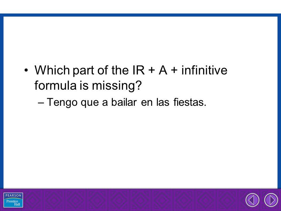 Which part of the IR + A + infinitive formula is missing? –Tengo que a bailar en las fiestas.