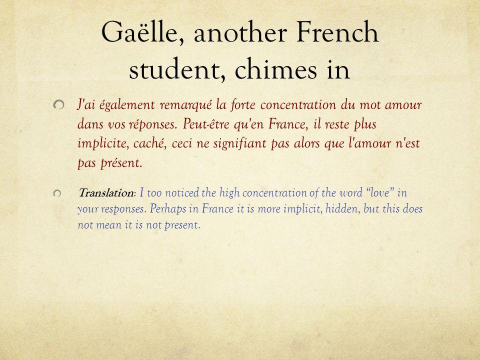 Gaëlle, another French student, chimes in J'ai également remarqué la forte concentration du mot amour dans vos réponses. Peut-être qu'en France, il re