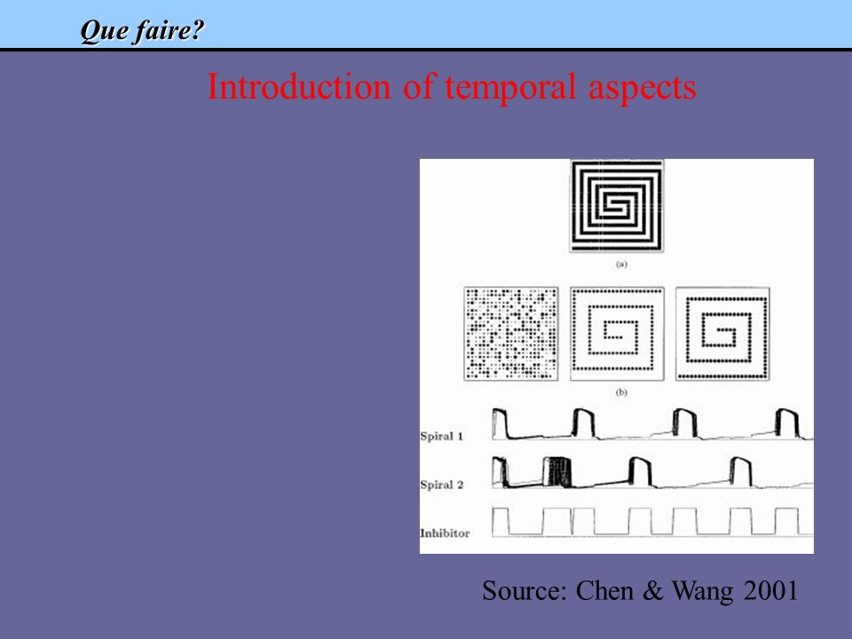 Que faire? Introduction of temporal aspects Source: Chen & Wang 2001