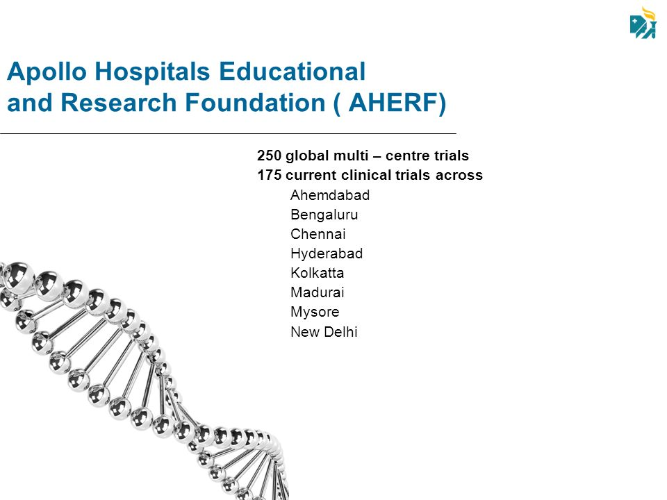 Apollo Hospitals Educational and Research Foundation ( AHERF) 250 global multi – centre trials 175 current clinical trials across Ahemdabad Bengaluru