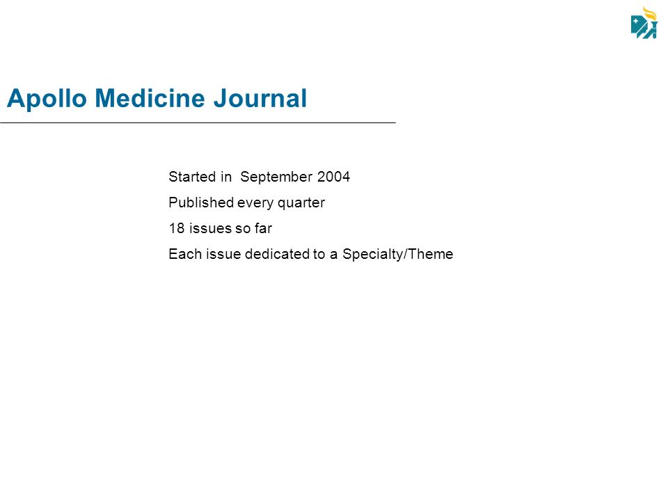 Apollo Medicine Journal Started in September 2004 Published every quarter 18 issues so far Each issue dedicated to a Specialty/Theme
