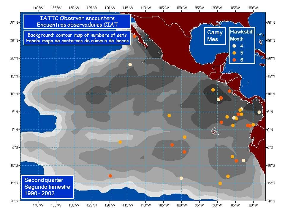 Carey Mes Second quarter Segundo trimestre 1990 - 2002 IATTC Observer encounters Encuentros observadores CIAT Background: contour map of numbers of sets Fondo: mapa de contornos de número de lances