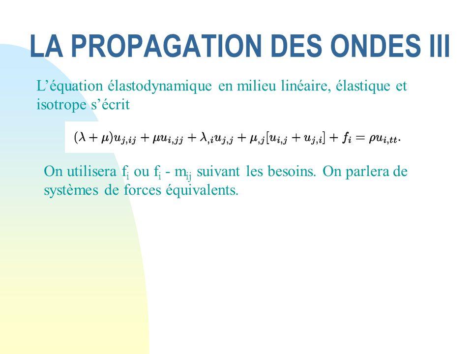 LA PROPAGATION DES ONDES III Léquation élastodynamique en milieu linéaire, élastique et isotrope sécrit On utilisera f i ou f i - m ij suivant les bes