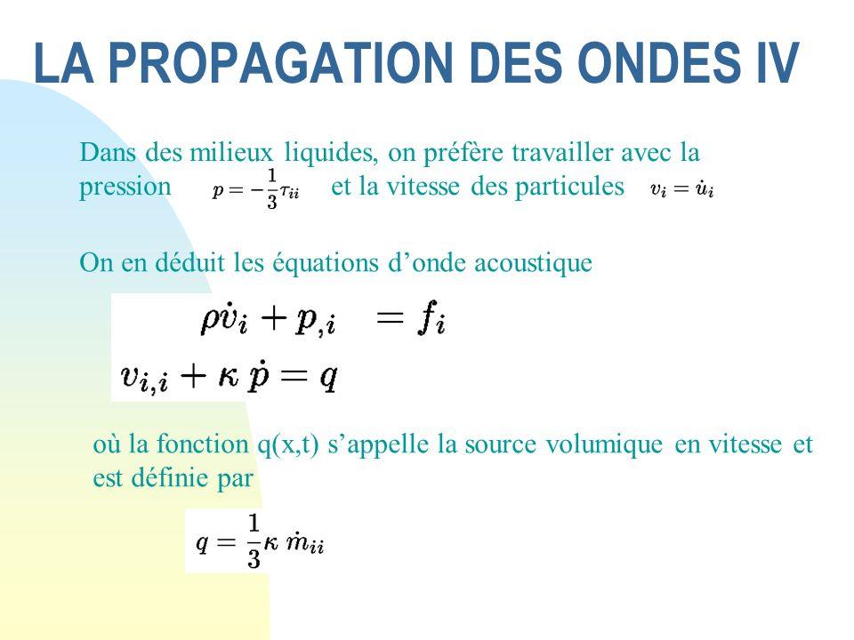 LA PROPAGATION DES ONDES IV Dans des milieux liquides, on préfère travailler avec la pression et la vitesse des particules où la fonction q(x,t) sappe