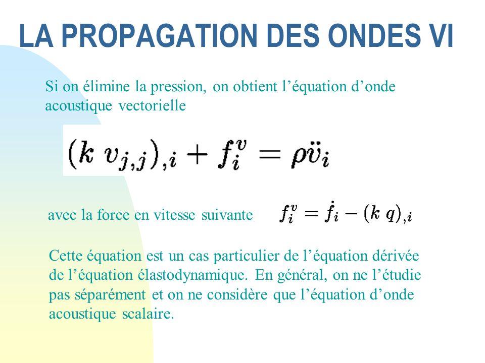 LA PROPAGATION DES ONDES VI Si on élimine la pression, on obtient léquation donde acoustique vectorielle avec la force en vitesse suivante Cette équat