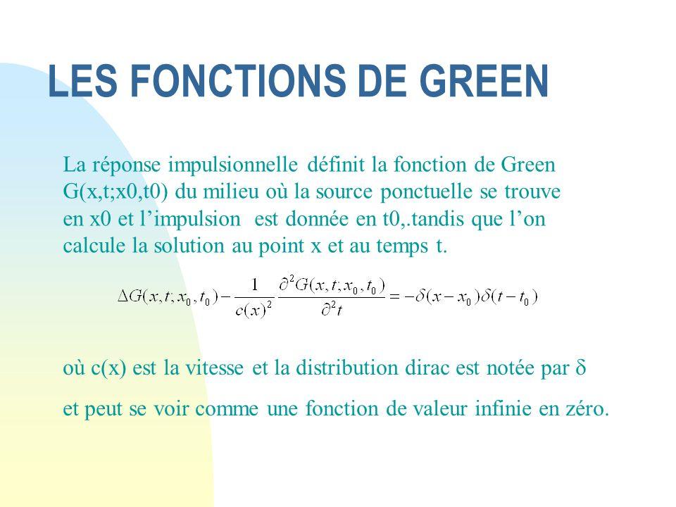 LES FONCTIONS DE GREEN où c(x) est la vitesse et la distribution dirac est notée par et peut se voir comme une fonction de valeur infinie en zéro. La