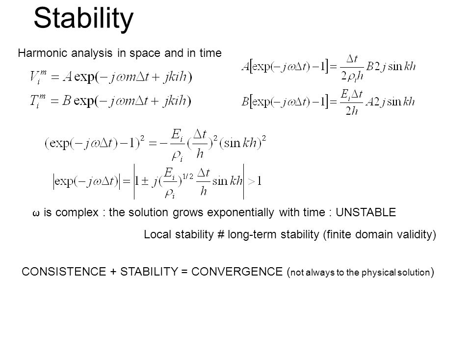 Stability Harmonic analysis in space and in time is complex : the solution grows exponentially with time : UNSTABLE Local stability # long-term stabil