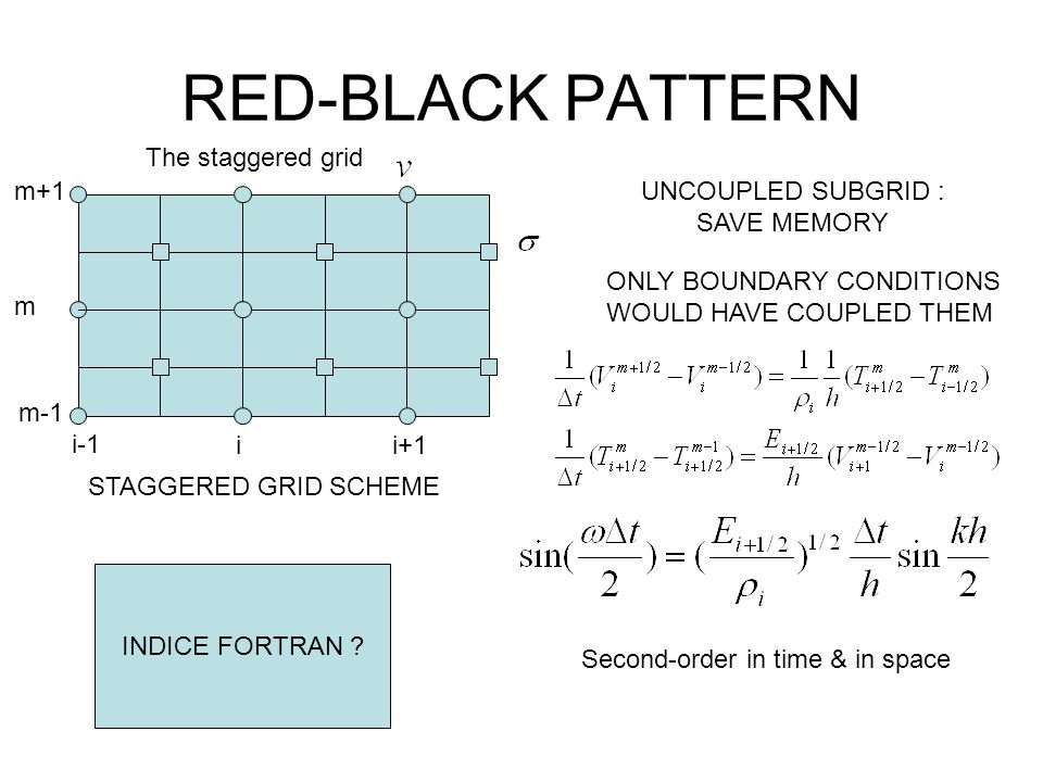 RED-BLACK PATTERN i-1 ii+1 m-1 m m+1 The staggered grid UNCOUPLED SUBGRID : SAVE MEMORY ONLY BOUNDARY CONDITIONS WOULD HAVE COUPLED THEM STAGGERED GRI