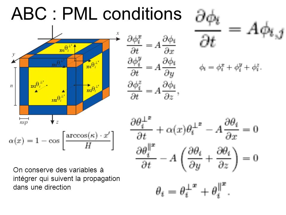 ABC : PML conditions On conserve des variables à intégrer qui suivent la propagation dans une direction