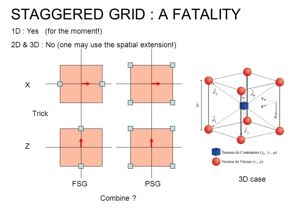 STAGGERED GRID : A FATALITY 3D case 1D : Yes (for the moment!) 2D & 3D : No (one may use the spatial extension!) Trick Combine ? FSG X Z PSG
