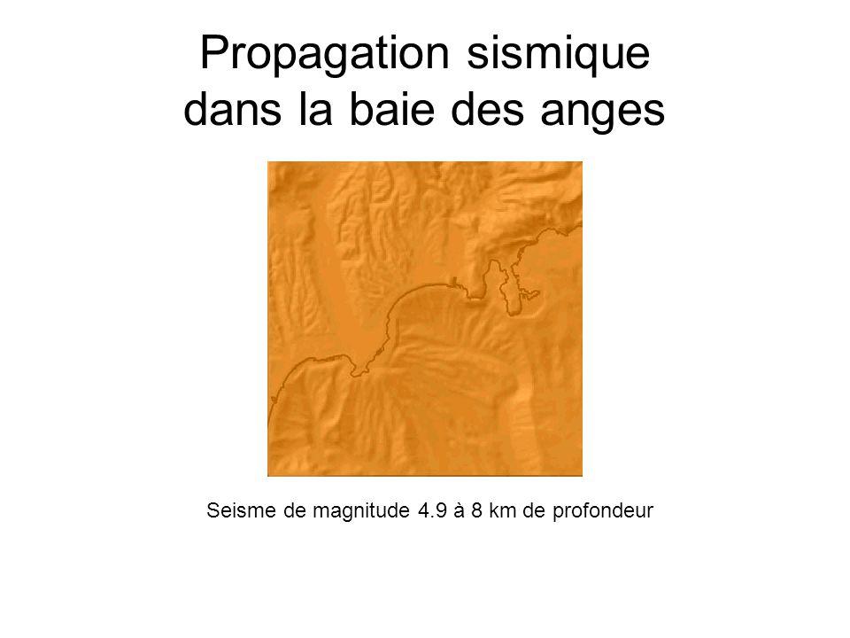 Propagation sismique dans la baie des anges Seisme de magnitude 4.9 à 8 km de profondeur