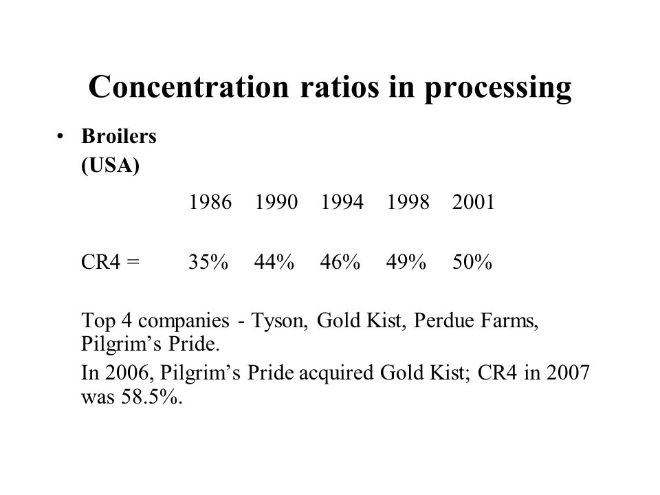 Concentration ratios in processing Broilers (USA) 19861990199419982001 CR4 =35%44%46%49%50% Top 4 companies - Tyson, Gold Kist, Perdue Farms, Pilgrims