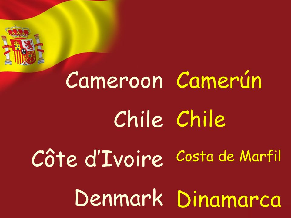 Cameroon Chile Côte dIvoire Denmark Camerún Chile Costa de Marfil Dinamarca